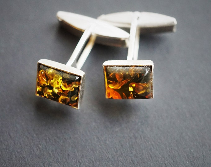 Baltic Amber, sterling silver cufflinks 5g
