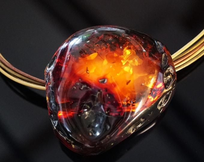 78g Huge Unique Baltic Amber Necklace, Deep Cognac Baltic Amber