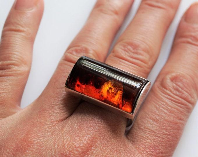 11.7 Cherry Baltic Amber Ring, Male, Ring, Unisex Ring, Signet, Gemstone Ring