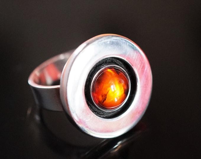 7g Handmade Baltic Amber Ring, Amber Sterling Silver Ring, Cognac Amber Ring, Round Ring
