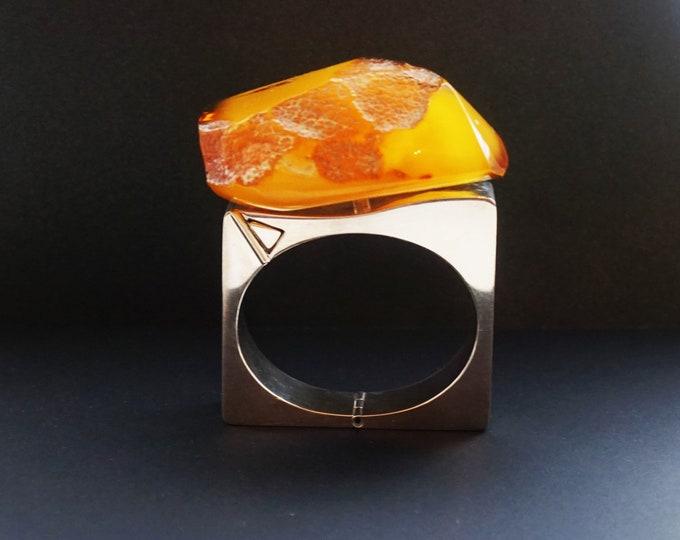 117,9g. Baltic Amber Bracelet, E.Salwierz Design, Honey Amber, Unique Gift , Butterscotch Amber, Modern Design Bracelet