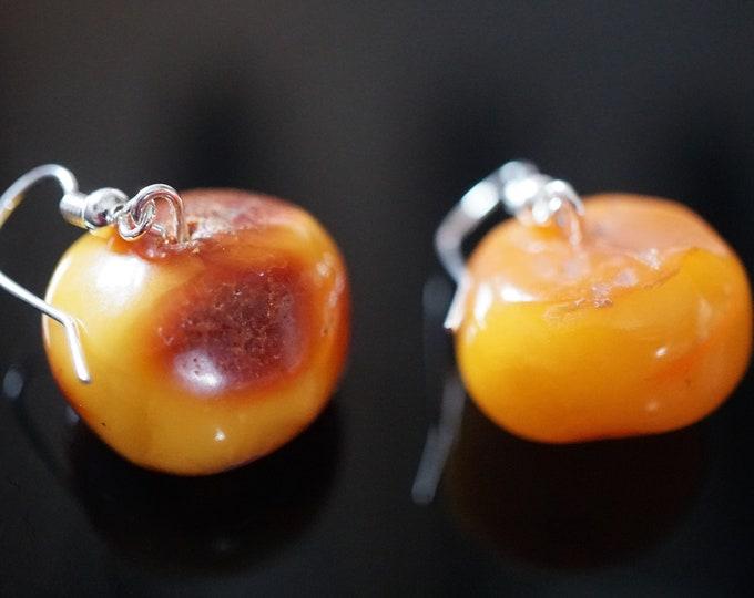 7,2g. Butterscotch Honey Baltic Amber Earrings, Donut Amber Earrings