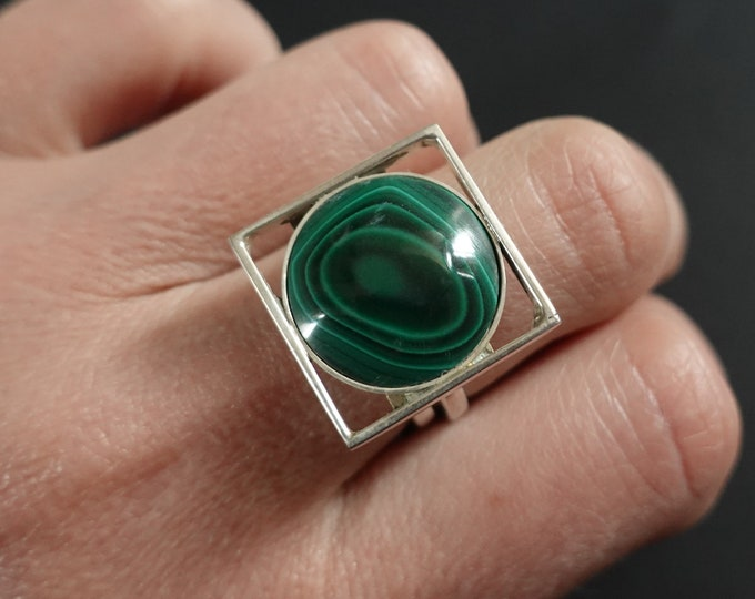 Handmade Sterling Silver Malachite Ring 9g