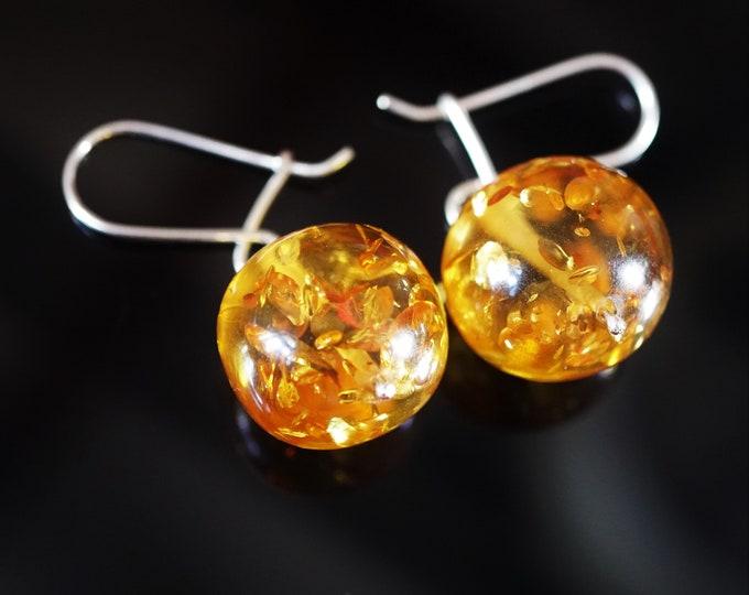 9,5g. Genuine Yellow Cognac Baltic Amber Earrings, Ball Shape Baltic Amber Earrings