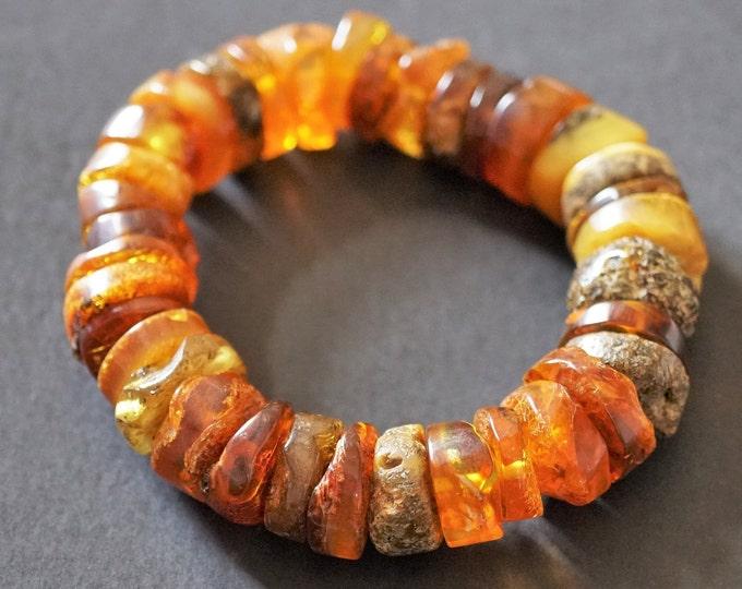 24,6g. Natural Baltic Amber Bracelet, Amber Donut Bracelet, Cognac Multicolour Amber