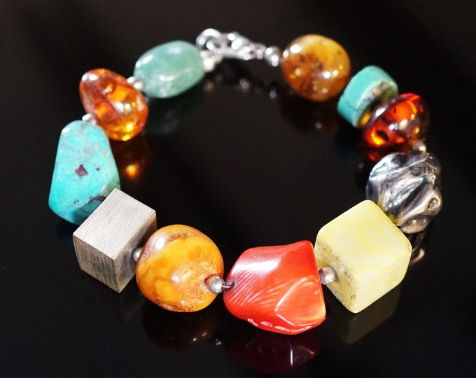 Unique Handmade Multicolour Gemstone Baltic Amber Sterling Silver Bracelet