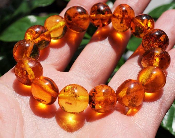 12mm. Cognac Baltic Amber Bracelet, Stretch Bracelet, Baroque  Beads Amber Bracelet, Beaded Bracelet