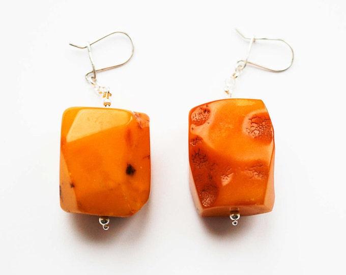 29g. Huge Chic Amber Earrings, Butterscotch Amber Earrings, Large Earrings, Genuine, Untreated Amber, Not Modified Amber
