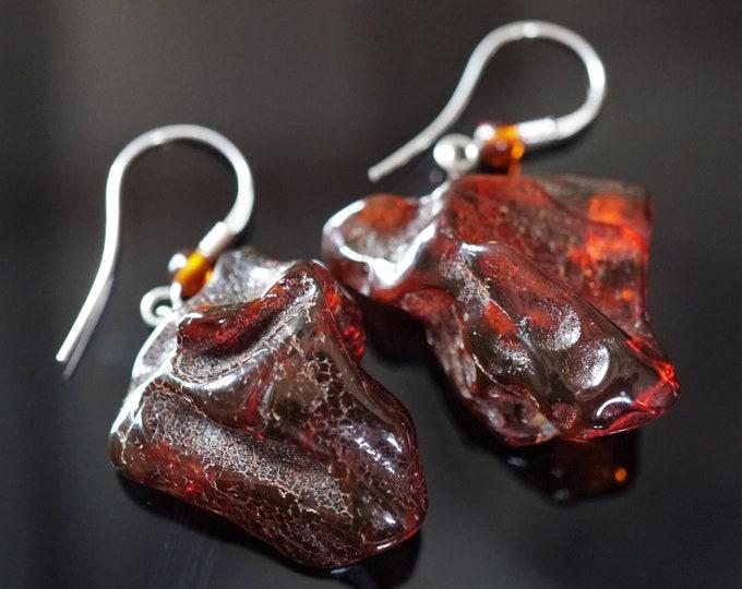 7,4g. Handmade  Cherry Cognac Baltic Amber Earrings