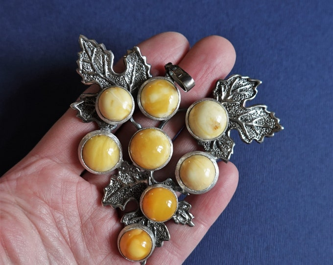 67,8g Hand Carved Sterling Silver Baltic Amber Necklace/Pendant, White/Butterscotch Amber, Sterling Silver, Large