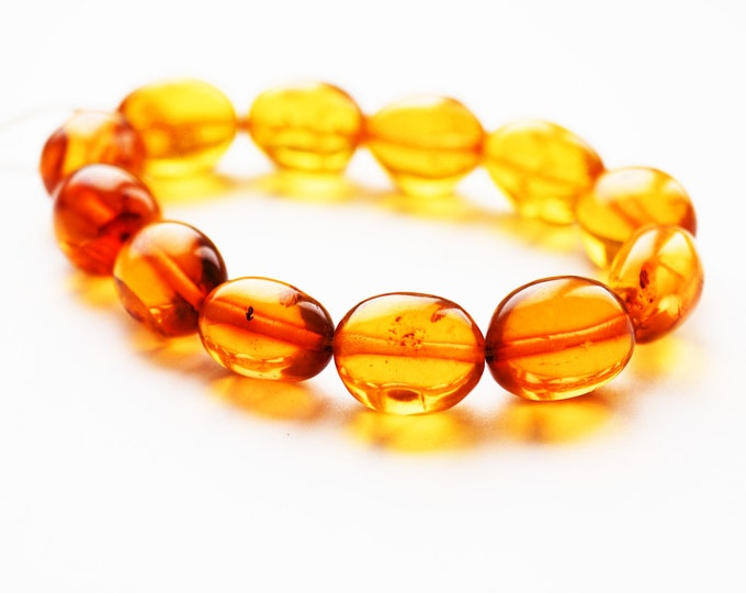 16g. Natural Baltic Amber Bracelet, Not Pressed, Sunny Jewellery, Honey Amber, Olive Bead Amber, Beach Bracelet, Organic, Genuine Amber