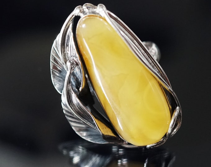 17,7g Large Butterscotch Baltic Amber Ring, Genuine Amber Ring, Sterling Silver