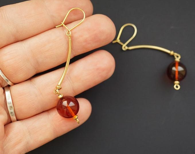 Cherry Amber Ball Earrings, Long Earrings