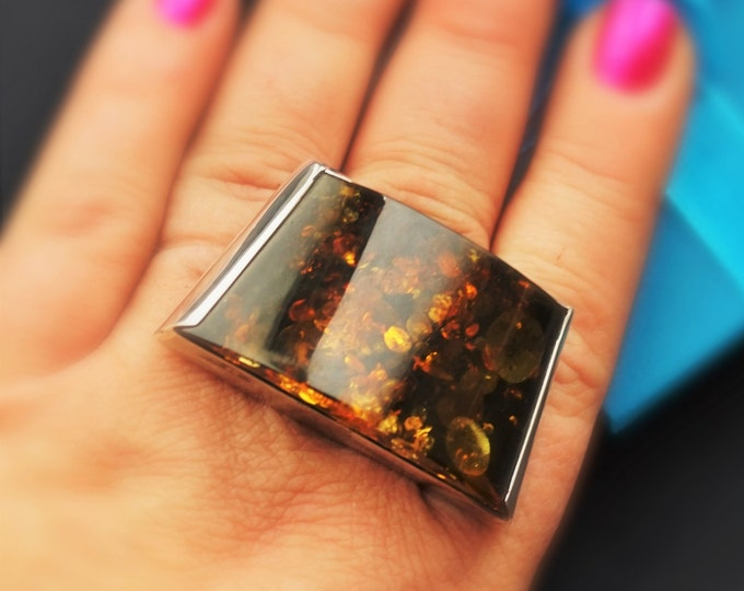 25,5g Artistic Baltic Amber Ring, Green/Cognac Amber, Large Amber Ring, Genuine AMber