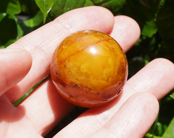 31mm. Unmodified Baltic Amber Ball, Not Pressed Amber,  Amber Ball with Hole, Butterscotch, Antique Colour,  Landscape Amber, Old  Amber