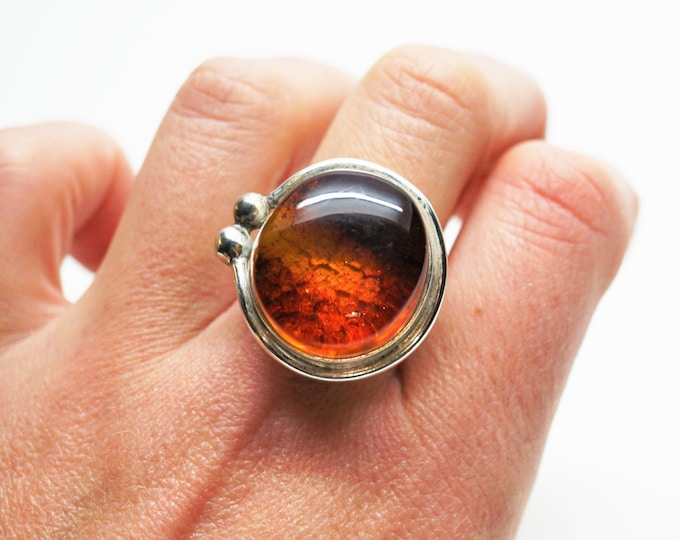 Vintage Silver Baltic Amber ring 11g