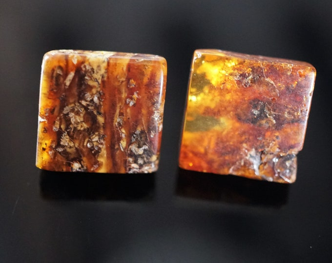 Yellow Cognac Natural Baltic Amber Stud Earrings, Square Earrings