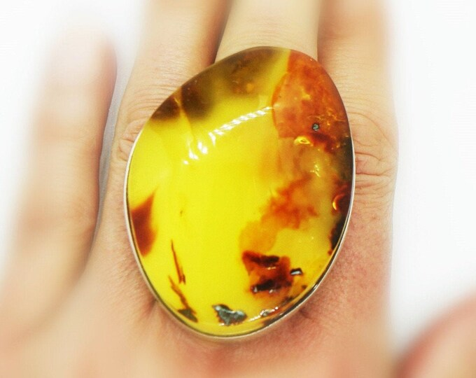 33,4g. Baltic Amber Ring, Honey /Yellow/Orange Baltic Amber, Large Amber Ring, Gift