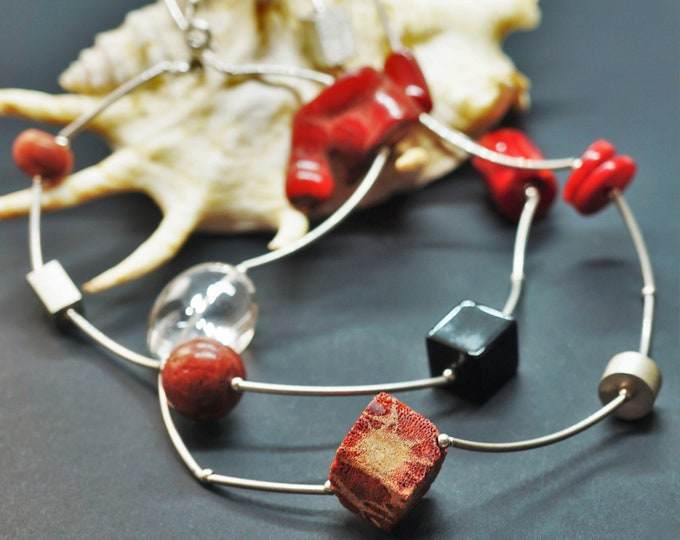 59,5g Handmade Sterling Silver Red Coral & Black Volcanic Lava,Red Volcanic Lava Necklace