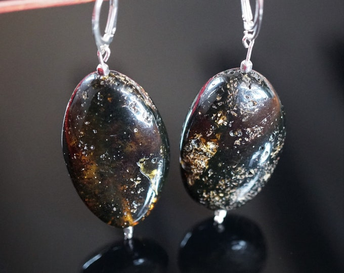 16g Big Black Baltic Amber Earrings