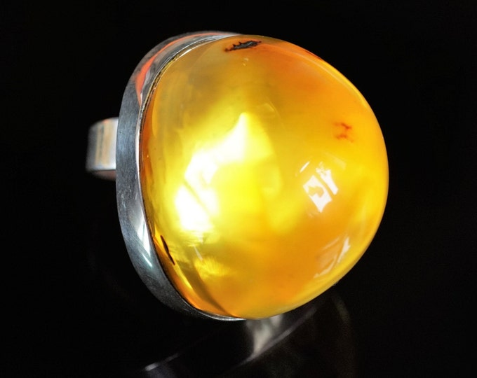 32,5g. Baltic Amber Ring, Honey /Yellow Baltic Amber, Large Amber Ring, Gift, Transparent Amber Ring,Huge Ring