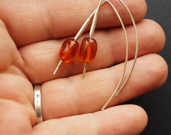 2,3g. Handmade Amber Long Earrings