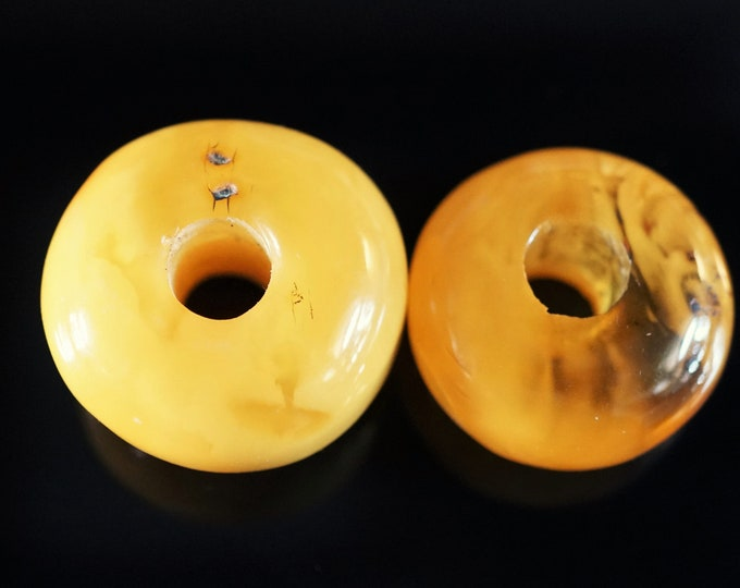12,3g  2xGenuine Baltic Amber Donut Pendants, Yellow Amber, Amber Amulet, Butterscotch Amber