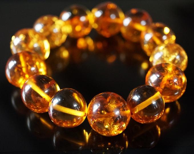 23,8 g. Large Genuine Baltic Amber Bracelet,  Not Pressed Amber, Amber Ball Bracelet, Cognac Amber