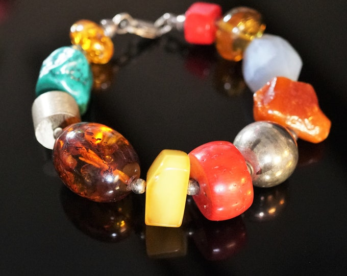 Unique Handmade Multicolour Gemstone Baltic Amber Sterling Silver Bracelet