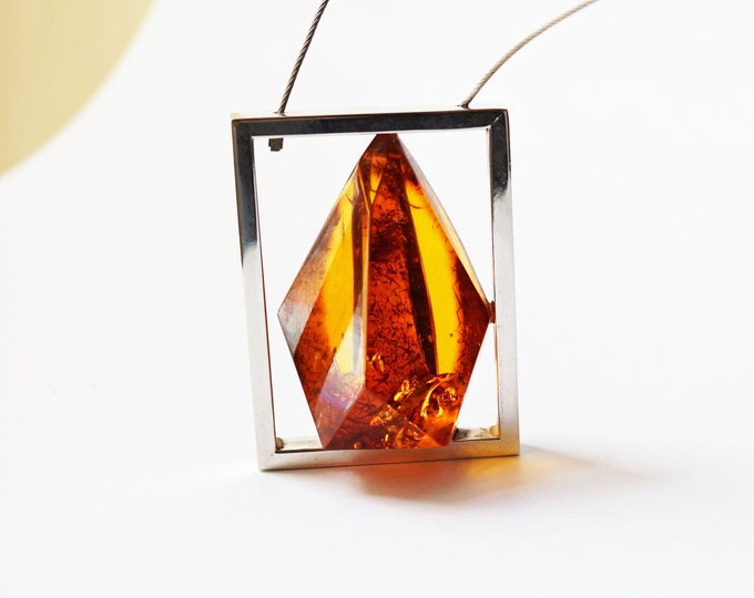 41g Baltic Amber Necklace, Genuine Amber Necklace/Pendant, Large Amber, E. Salwierz Design Amber Necklace