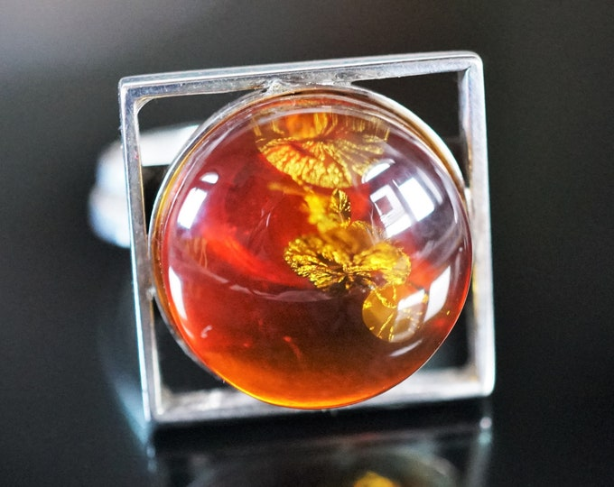8g. Baltic Amber Sterling Silver Ring, Cognac Amber Ring