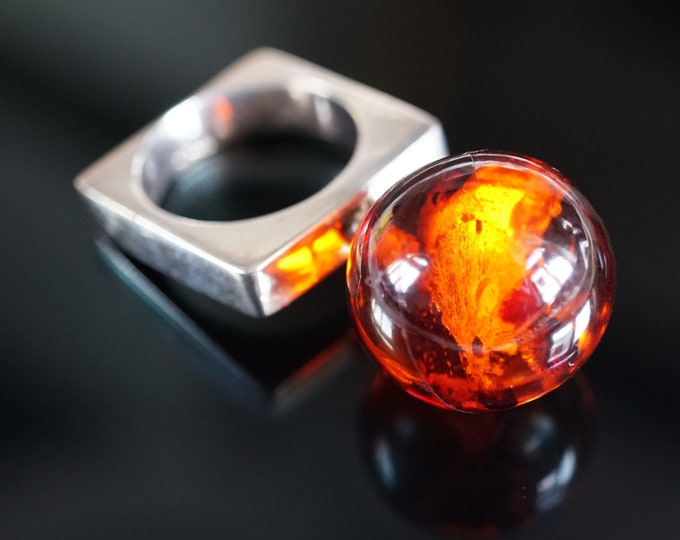9g. Cherry Cognac Baltic Amber Ball Ring, Not Pressed Amber Ball, E. Salwierz Design Ring, Sterling Silver