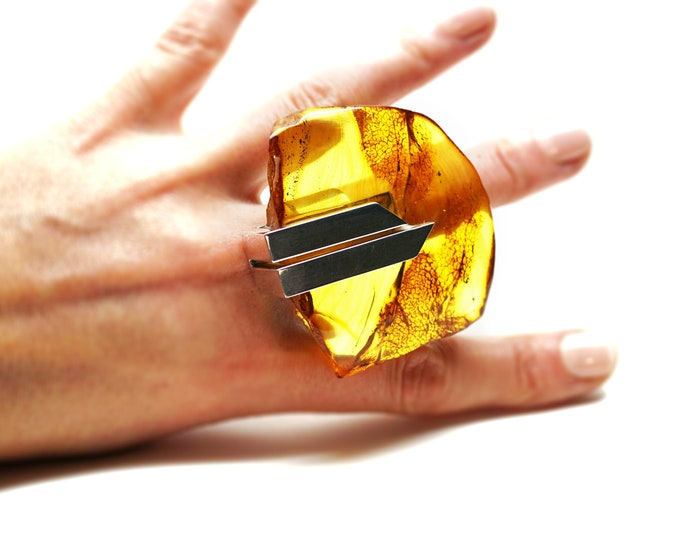 41g E. Salwierz  Baltic Amber Ring, Huge Ring, Artistic Jewellery, Yellow Amber Ring, Genuine Amber