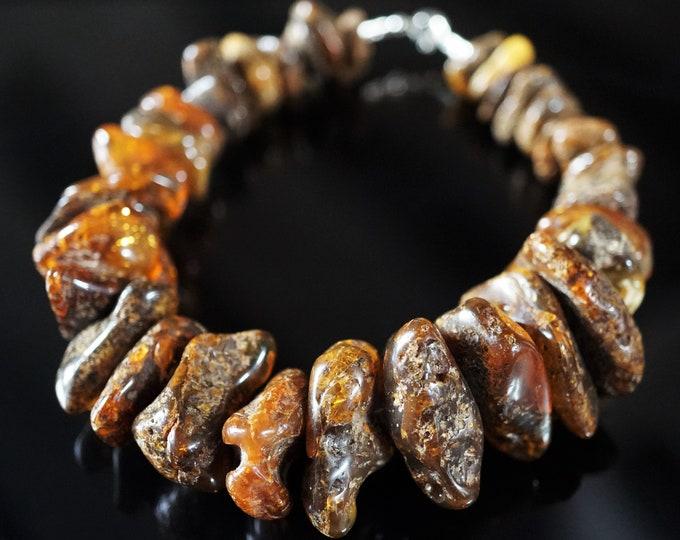 35,7g. Baltic Amber Bracelet, Genuine Amber Bracelet, Dark Amber Bracelet, Bead Amber Bracelet