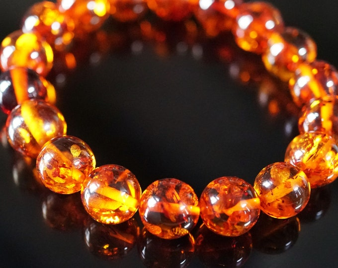 10mm. Cognac Baltic Amber Bracelet, Genuine Amber, Ball Amber Bracelet, Beaded Bracelet