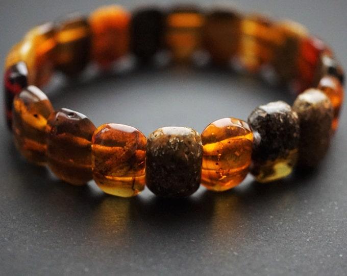9g Natural Baltic Amber Bracelet, Small Amber Bracelet, Multicolour Amber Bracelet