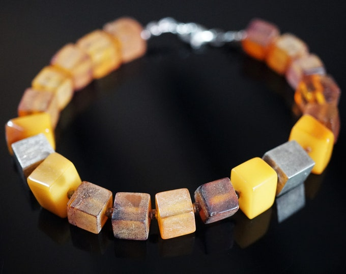 11,7g Natural Baltic Amber Bracelet, Genuine Amber, Not Modified Amber, Cube Amber Bracelet, Butterscotch Amber, Sterling Silver