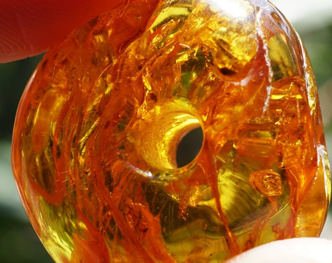 8g  Yellow Baltic Amber Donut Pendant, Honey  Donut Amber Amulet, Large Amber