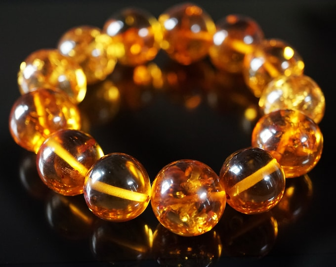 29,6 g. Large Genuine Baltic Amber Bracelet,  Not Pressed Amber, Amber Ball Bracelet, Cognac Amber