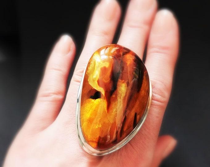 60,7g. Huge Elegant Baltic Amber Sterling Silver Ring, Cognac Amber Ring, Oversized Ring, Genuine Baltic Amber