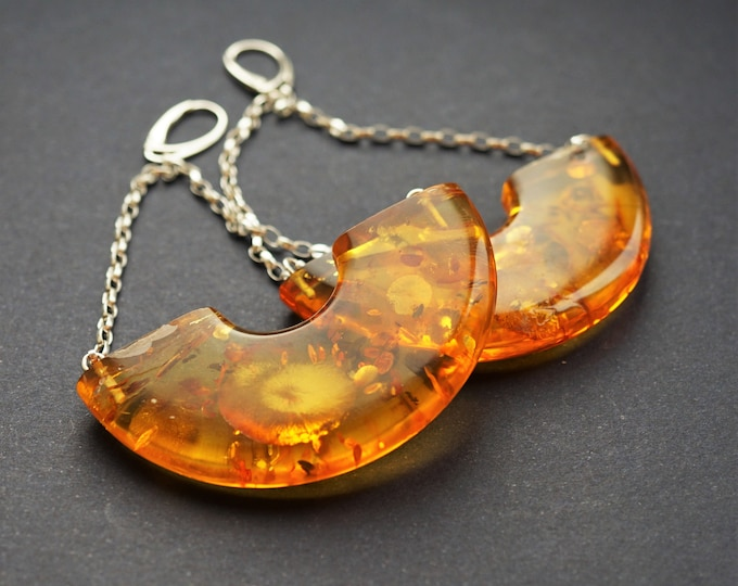 34,5g Huge Baltic Amber Earrings