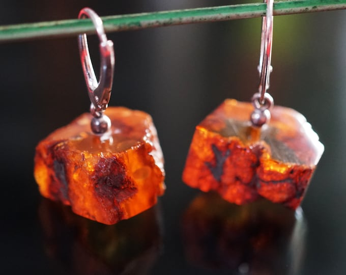 6,8g. Cognac Baltic Amber Sterling Silver Earrings