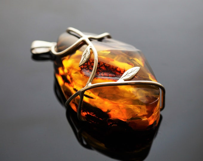 56g Huge Baltic Amber Pendant, Natural Amber Pendant, Yellow/Cognac Amber, Handmade Pendant