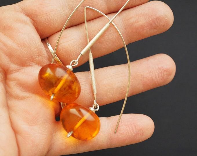 8g. Handmade Amber Long Earrings SALE