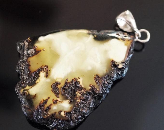 12,7g. Baltic Amber Pendant, White Amber Pendant, Unisex Amber Pendant