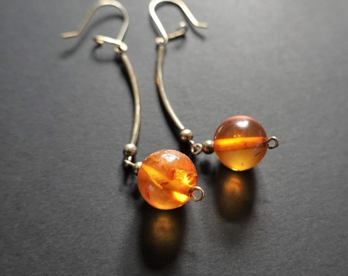 Yellow Baltic Amber Ball Earrings, Long Earrings, Sterling Silver Gold Plated, Diameter 12mm