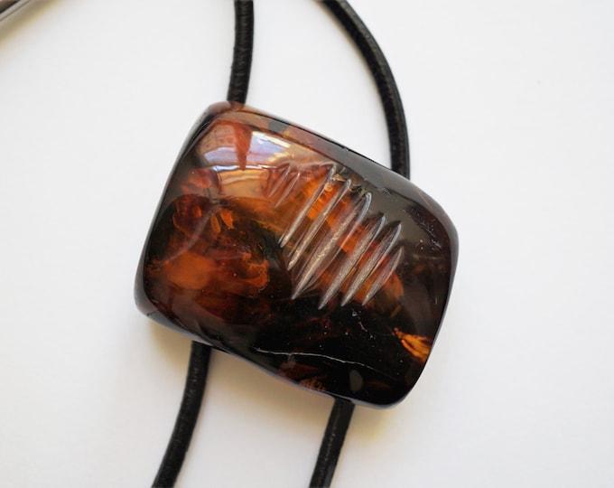 48g Artistic Bolo Tie Handmade Baltic Amber, Genuine Amber, Cognac Amber Bolo Tie