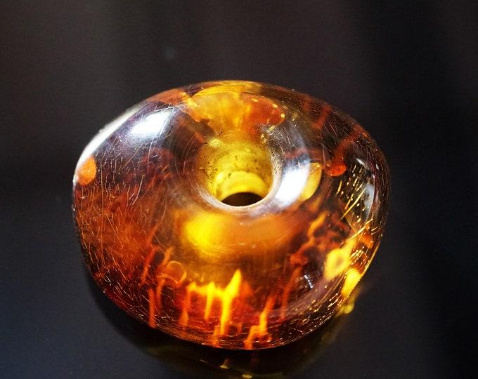 19,4g  Genuine Baltic Amber Donut Pendant, Yellow Cognac Amber, Amber Amulet, Large Amber
