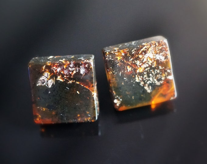 Cognac Natural Baltic Amber Stud Earrings, Square Earrings