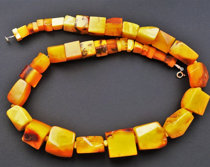 157g. Huge Necklace Natural Baltic Amber, Genuine Butterscotch Amber, NOT Pressed, Antique Amber